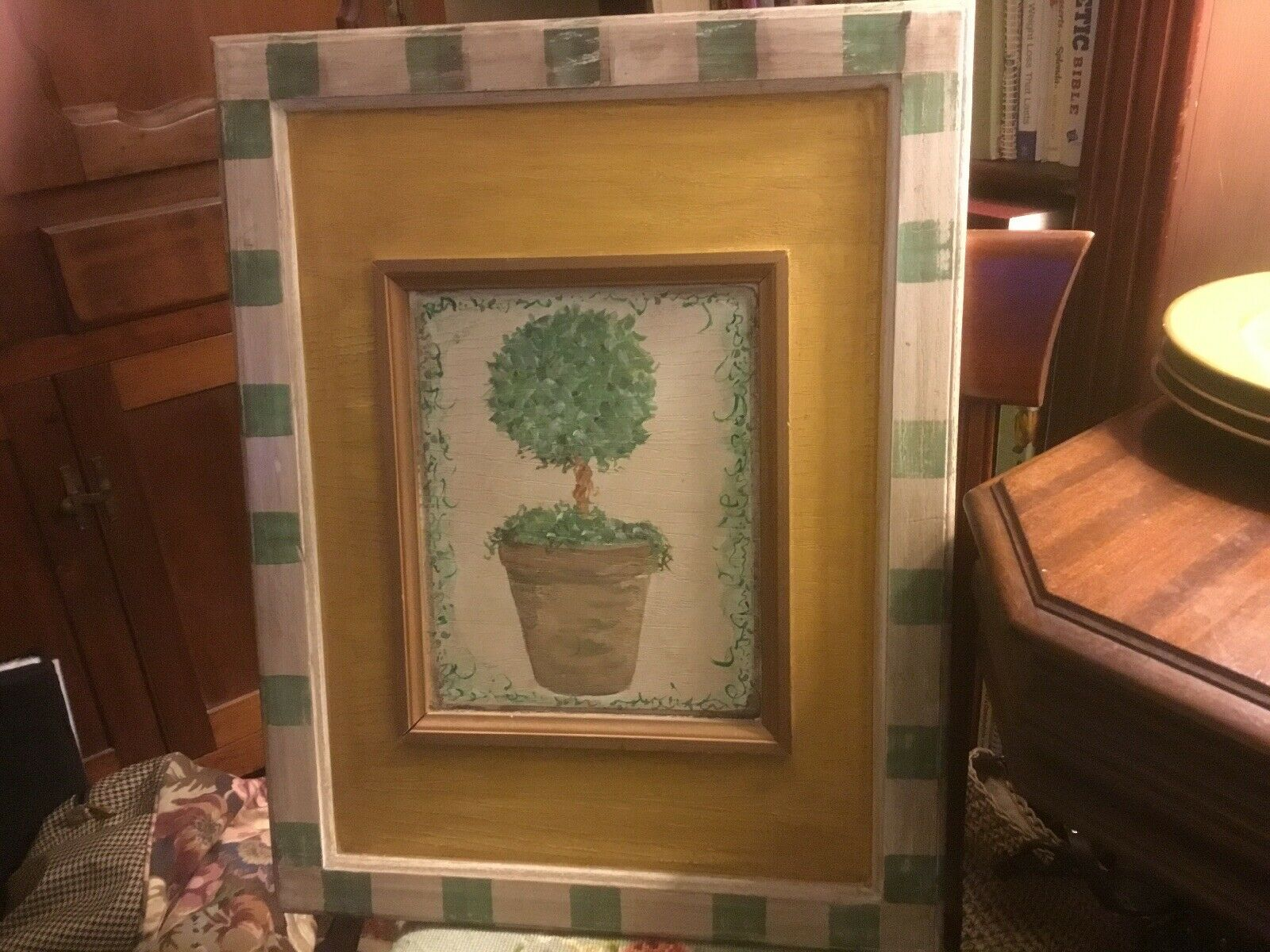 Hand Painted On Wood-Large Topiary-Picture-French Country Cottage-Beautiful