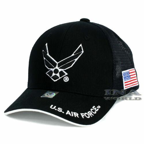 U.S.AIR FORCE hat Mesh USAF Official Licensed Baseball cap Flag on side Black