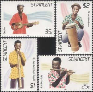 St-Vincent-1985-Music-Musical-Instruments-Musicians-Guitar-Drum-4v-set-n41289