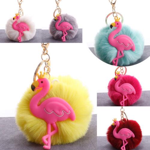 Cartoon Flamingo Fur Ball Pompom Pendant Keychain Bag Hangings Accessory Gifts