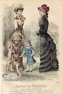 """74 / Gravure De Mode """" Journal Des Demoiselles """" 1880 Superbes Couleurs !"""