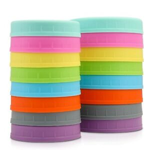 Wide-Mouth-Mason-Jar-Lids-Food-Grade-Storage-Caps-Colored-Plastic-Silicone-NEW