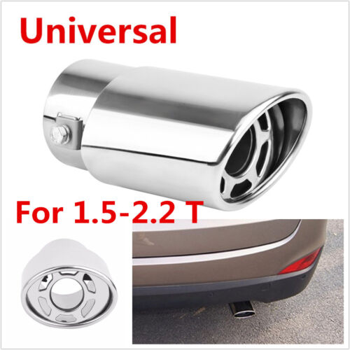 Universal 85x63mm Car Rear Round Exhaust Pipe Tail Muffler Tip Stainless Steel
