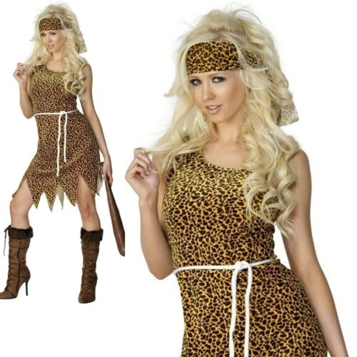 Cavewoman Leopard Print Brown Womens Ladies Fancy Dress Costume Uk 8-18