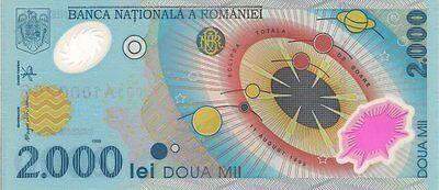 Romania P111a, 2,000 Lei, ECLIPSE, solar system / Romania, UNC  - POLYMER