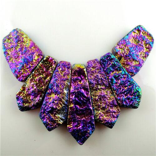 7pcs//lot Titanium crystal Agate Druzy Quartz Geode stone Pendant Bead 42*12*7mm