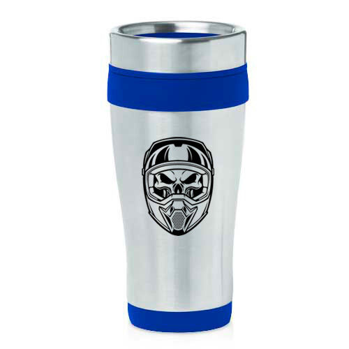 Stainless Steel Insulated 16oz Travel Mug Coffee Cup Skull Motocross MX Helmet