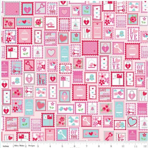 Riley Blake Lovey Dovey Stamps Fabric C3651 Pink 100/% Cotton fat quarter