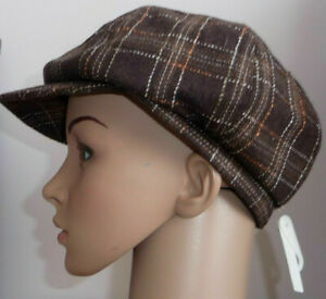 Brown-Baker-Boy-Check-Hat-One-Size-Peaked-Newsboy-Cap-Check-15-Wool