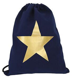 02e6936b36 Gym Bag Blue Gold Star Ella Jonte 100% Cotton Top Quality Hip Gym ...