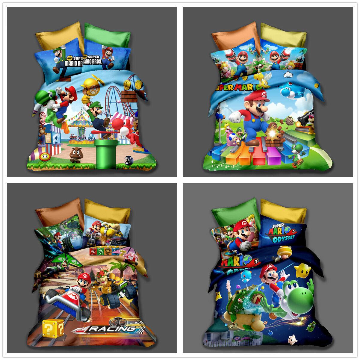 3D Super Mario Brougehers Enfants Quilt Duvet Doona Cover Bedding Set PilFaiblecase