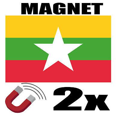 2 X Myanmar Drapeau Magnet 6x3 Cm Aimant Déco Magnétique Frigo