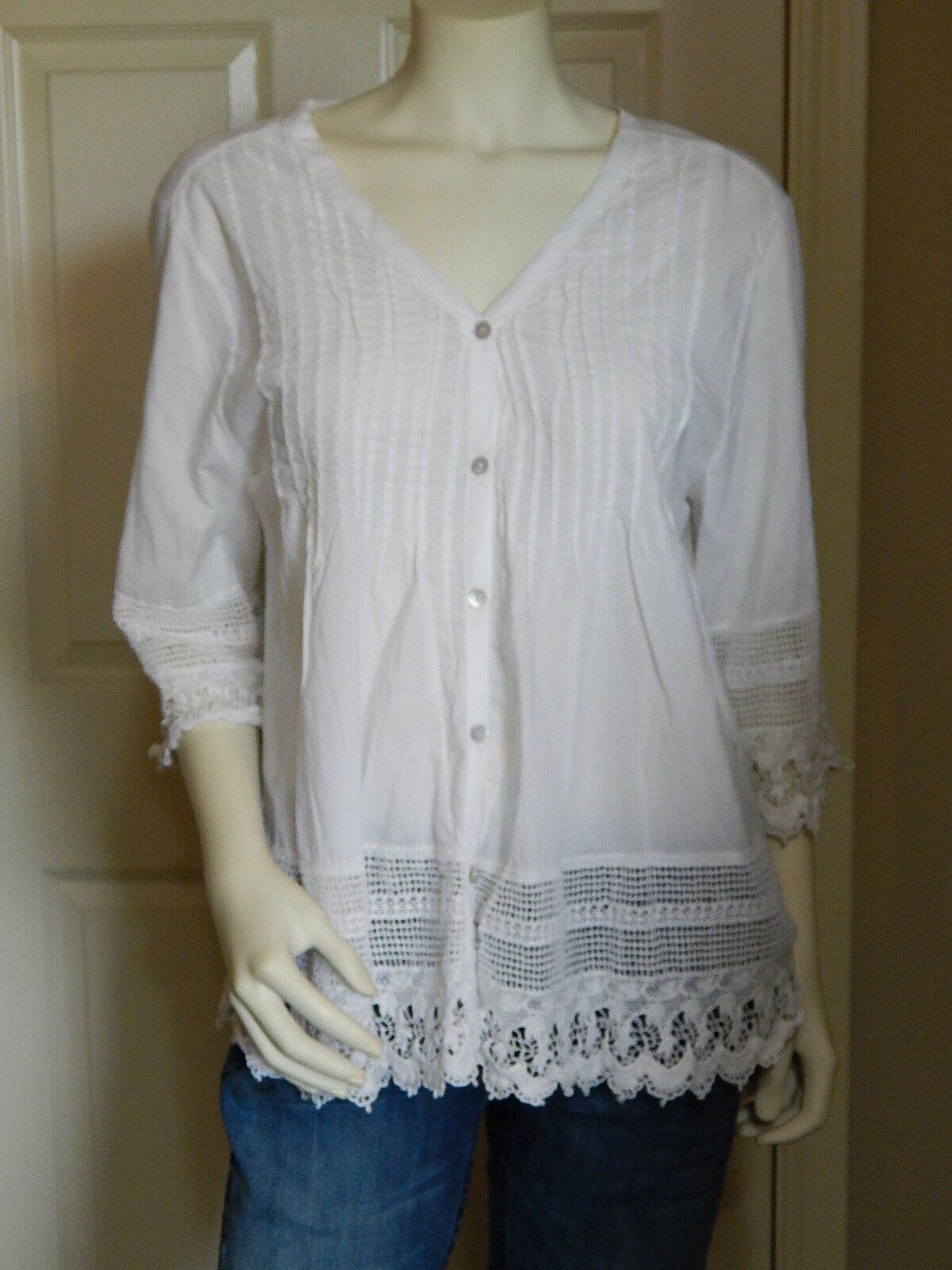 TRUE GRIT Women's White Shirt Peasant Blouse Open Lace Pattern SIZE XL