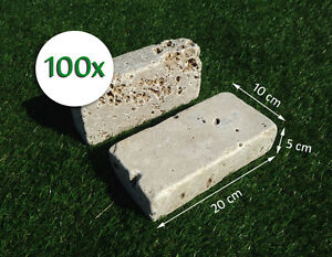 100 mattoni in marmo travertino noce 20x10x5cm blocchi for Mattoni per aiuole
