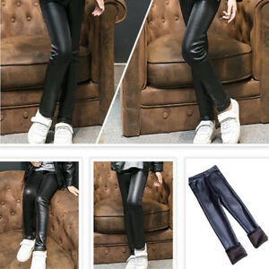 Girl-Kids-Winter-Thick-Warm-Leather-Leggings-Fleece-Lined-Thermal-Pants-Trousers