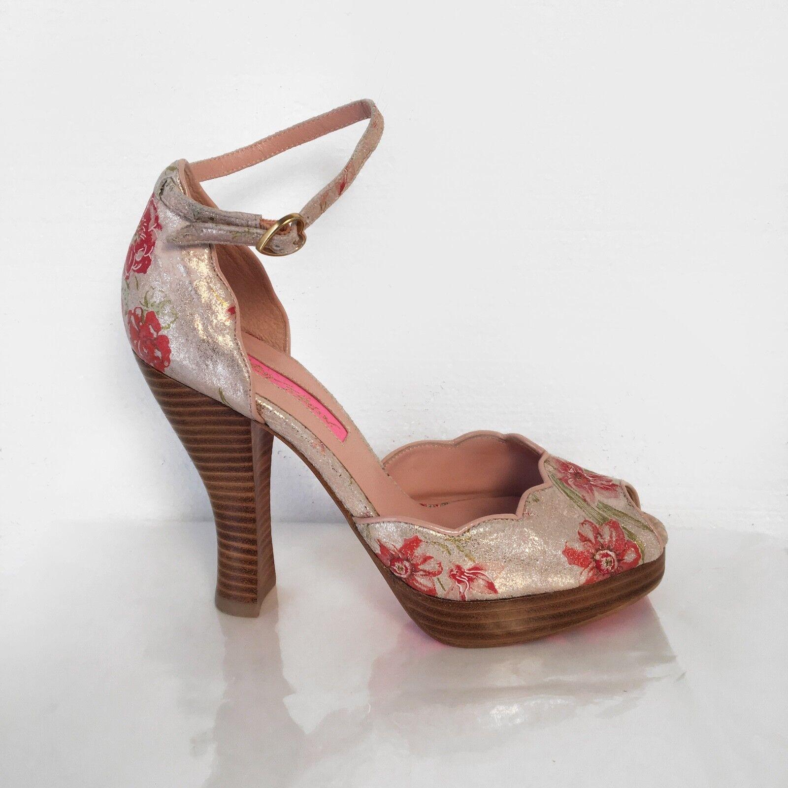 6M Betsey Johnson rosa Shiny Foil Floral Peep Toe Ankle Strap Platform Hi Heels
