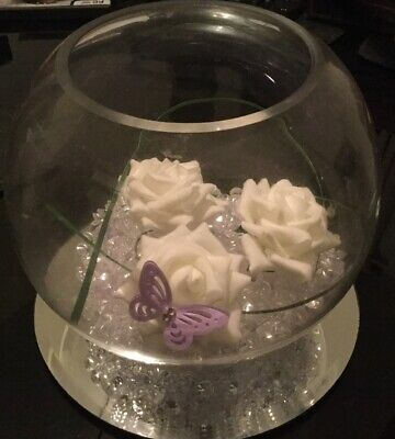 Clear Round Fishbowl Glass Ball Flower Vase 15.5cm x 19cm