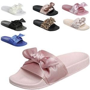 Open-Toe-Satin-Bow-Slide-Sandal-Slipper-Slip-On-Shoe-Flip-Flops-Low-Flat-Footbed