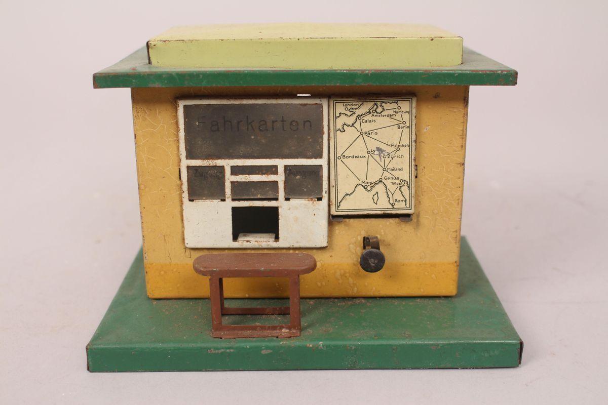 Karl Bub Fahrkartenhaus Fahrkartenausgabe 2 Cards Home Building Tin Toy