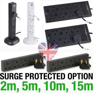 Extension-Leads-Cables-1m-2m-5m-10m-15m-4-6-8-USB-Gang-Sockets-SURGE-Black-White