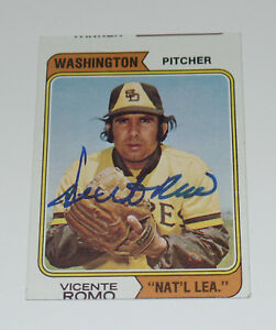 VICENTE ROMO AUTO'D SIGNED 1974 TOPPS CARD #197B WASHINGTON SAN DIEGO PADRES NTL