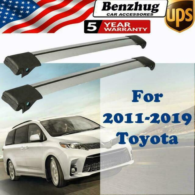 For 2011-2019 Toyota Sienna Top Roof Rail Rack Cross Bar Anti-theft Lock  System