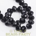 New 20pcs 10X7mm Crystal Glass Rondelle Faceted Loose Spacer Beads Black