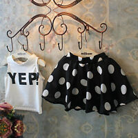 Toddler Kids Baby Girls T-shirt Tops+Tutu Skirt Dress Outfits Clothes 2PCS Set