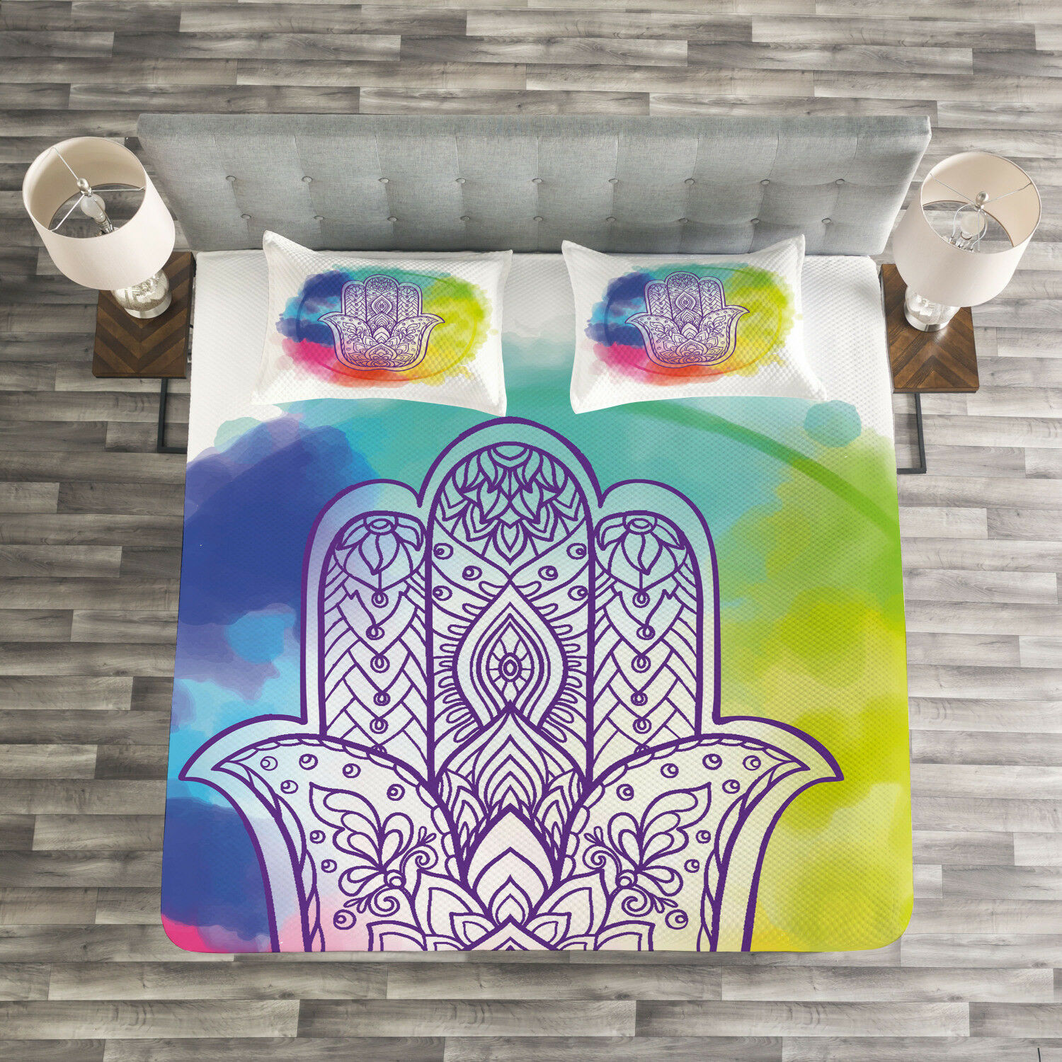Hamsa Quilted Bedspread & Pillow Shams Set, Dreamy Esoteric Charm Print