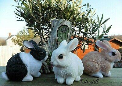 Set Of 3  /'Bright Eyes/' Baby Bunny Rabbits ~ Garden Rabbit Ornament 10cm NEW!