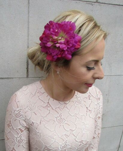 Large Fuchsia Purple Pink Peony Flower Hair Clip Rose Big Fascinator Floral 5195