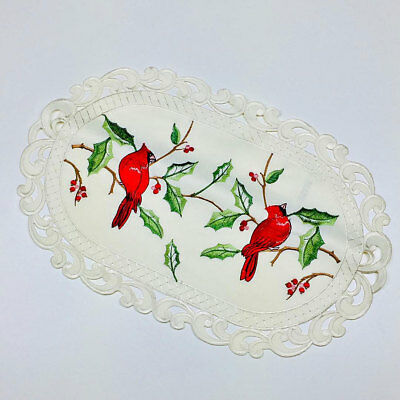 """Christmas Cardinal Embroidered Oval Lace Placemat 11/""""x17/"""""""