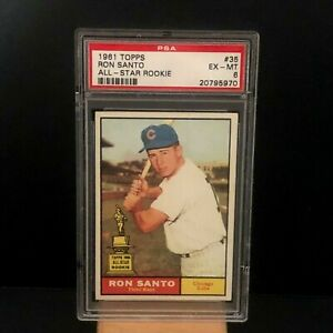 1961-Topps-35-Ron-Santo-ROOKIE-RC-Chicago-Cubs-EX-MT-PSA-6-Graded-Baseball-Card