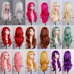 70cm Long Curly Anime Cosplay Wig Womens Party Fibre Synthetic Hair ... d097d6ed8