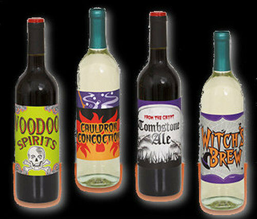 Halloween Wine Bottle Party Labels - Pack of 4 NEW