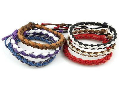 7 Inch Plaited Cord & Leather Surfer Bracelet - woven braclet friendship bracket
