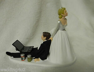 Wedding Cake Topper Beer Cans Computer Laptop Video Game Gamer - Beer Can Wedding Cake