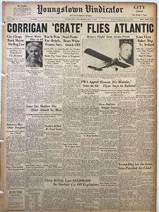 Display Newspaper 1938 Douglas Wrong Way Corrigan Flies Crate Across Atlantic