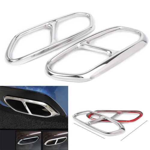 Stainless Steel Tail Rear Exhaust End Pipe Cover Trims For Volvo XC60 2018-2019