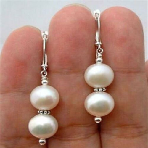 10 mm Blanc Rond Shell Pearl Silver Boucles d/'oreilles Parti Earbob Classic Eardrop AAA