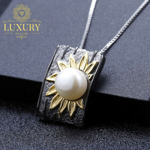 Natural-Freshwater-Pearl-Solid-925-Silver-Exaggerated-Creative-Pendant-Necklace