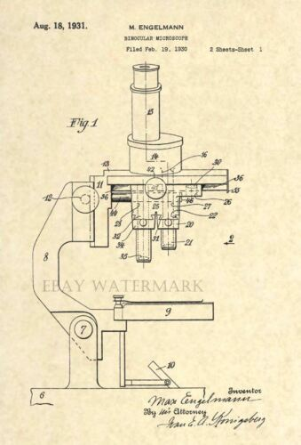 Official Microscope Patent Art Print Circa 1931 Vintage//Antique Scientist 66