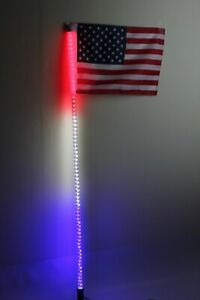 6 feet Led light bulb whip with American flag Quick Release 6 color available