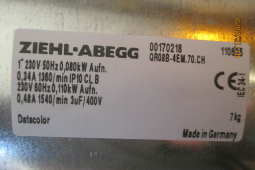 NEW ZIEHL-ABEGG QR08B-4EM.70.CH CROSS FLOW FAN BLOWER 230V