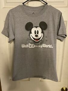 Disneyland Walt Disney World Mickey Mouse Front and Back Logo Gray T-Shirt Sz Sm