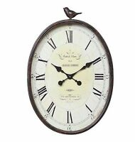 Antique Style Wall Clock Patina Distressed Home Decor Large Oval Diy Home