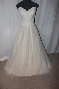 NWT-House-of-Wu-21016-2-piece-Ivory-champagne-lace-size-16-Bridal-wedding-gown