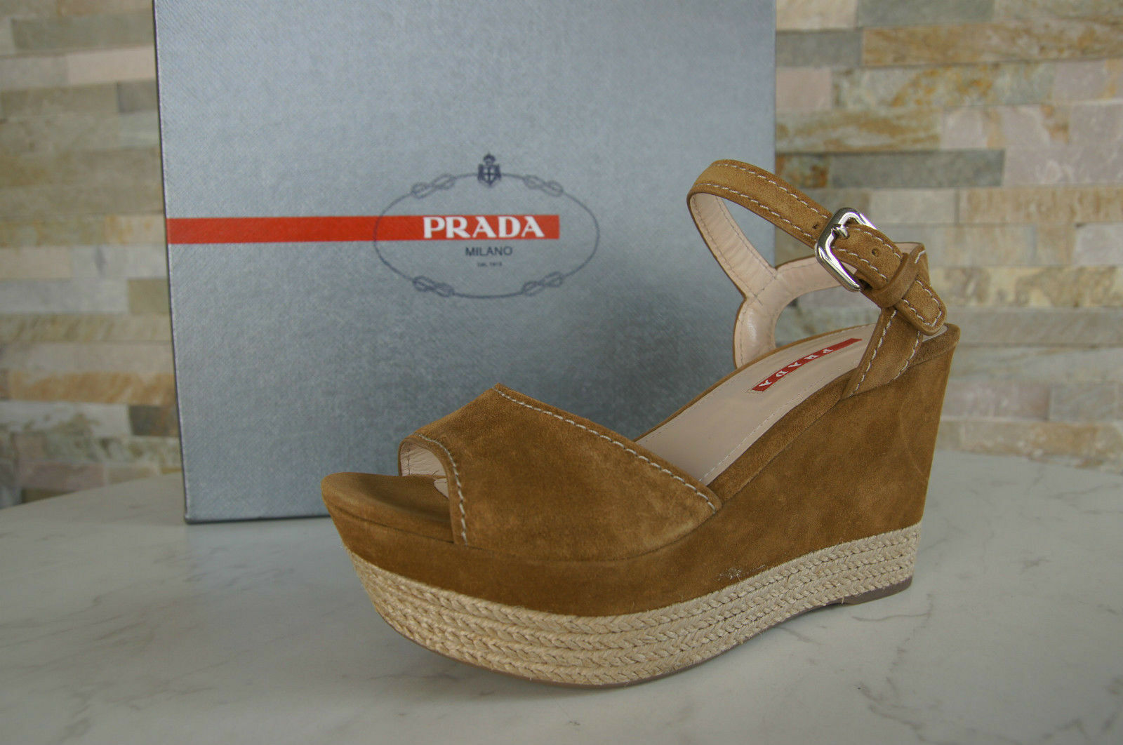 PRADA Dimensione 40,5 Piattaforma Sandals scarpe Wedges Sisal Caramell NUOVO   vendita scontata