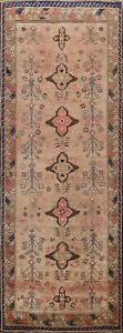 Antique-Vegetable-Dye-Geometric-Sultanabad-Runner-Rug-Hand-knotted-Oriental-4x9