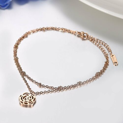 Stainless Steel Rose Gold Tone Double-layer Camellia Anklet Ankle Chain Bracelet